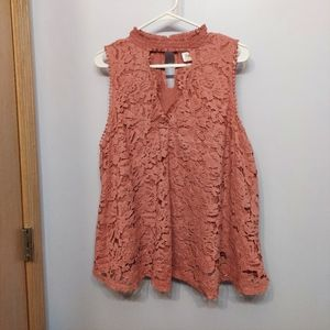 Clover + Scout 3x dusty rose lace peek a boo neck